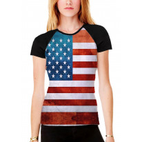 American Stars and Stripes Women's All Over Graphic Contrast Baseball T Shirt