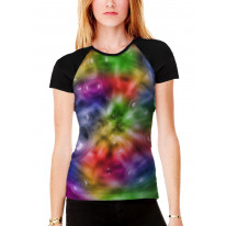 Colour Spiral with Bubbles Pattern Background Women's All Over Graphic Contrast Baseball T Shirt