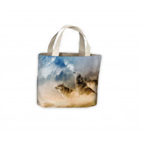 Wolves Under Moonlight Tote Shopping Bag For Life