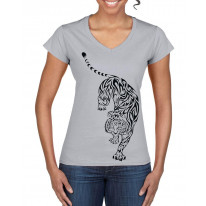 Tribal Tiger Tattoo Large Print V Neck Women's T-Shirt