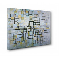 Piet Mondrian Composition in Grey Blue Box Canvas Print Wall Art - Choice of Sizes