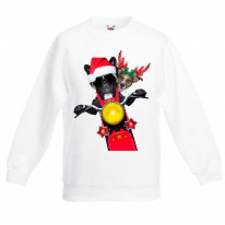 French Bulldog and Jack Russell Terrier Santa Claus Style Father Christmas Kids Sweater \ Jumper