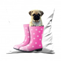 Pug Dog In Pink Wellies Faux Silk 45cm x 45cm Sofa Cushion