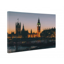 Big Ben and Houses of Parliament at Night Box Canvas Print Wall Art - Choice of Sizes