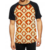 Buddhist Pattern Men's All Over Graphic Contrast Baseball T Shirt
