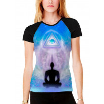 Lotus Pose Third Eye Meditation Women's All Over Graphic Contrast Baseball T Shirt