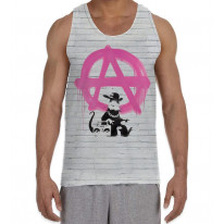 Banksy Anarchy Rat Men's All Over Print Graphic Vest Tank Top
