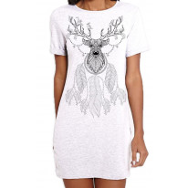 Dreamcatcher With Stags Head Hipster Large Print Women's T-Shirt Dress