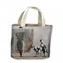 Banksy Shower Kids Peeping Toms Tote Shopping Bag For Life