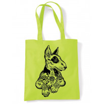 Pit Bull Terrier With Tattoos Hipster Large Print Tote Shoulder Shopping Bag