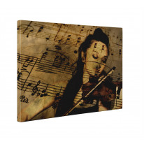 Female Violinist with Sheet Music Box Canvas Print Wall Art - Choice of Sizes