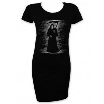 The Grim Reaper Scribble Short Sleeve T-Shirt Dress Magentp