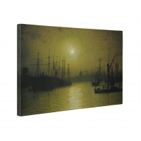 John Atkinson Grimshaw Thames Moonlight Box Canvas Print Wall Art - Choice of Sizes
