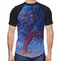 Piet Mondrian The Red Tree Men's All Over Graphic Contrast Baseball T Shirt