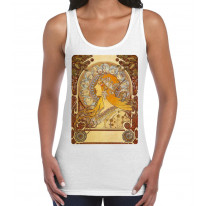 Alphonse Mucha The Zodiac Art Nouveau Large Print Women's Vest Tank Top