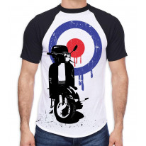 Mod Target Scooter Men's All Over Graphic Contrast Baseball T Shirt