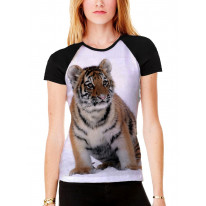 Tiger Cub in Snow Women's All Over Graphic Contrast Baseball T Shirt