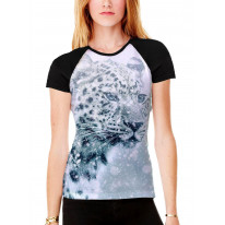 Leopard Face in Snow Women's All Over Graphic Contrast Baseball T Shirt