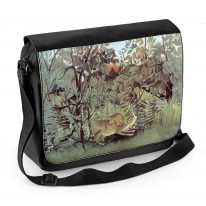 Henri Rousseau Hungry Lion and Antelope Laptop Messenger Bag