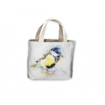 Blue Tit Bird Drawing Tote Shopping Bag For Life