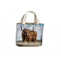 Highland Cattle Standing in Field Tote Shopping Bag For Life