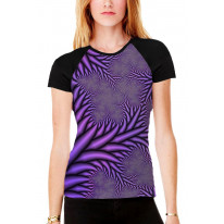Fractal Spikes Purple Women's All Over Graphic Contrast Baseball T Shirt