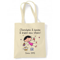 Chocolate Booze and Brand New Shoes 75th Birthday Tote Shoulder Shopping Bag