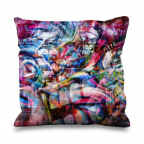 Abstract Teeth Graffiti Faux Silk 45cm x 45cm Sofa Cushion