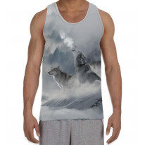 Wolves Howling at Moon Men's All Over Graphic Vest Tank Top