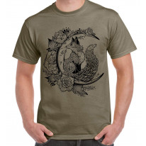 Fox With Crescent Moon Hipster Tattoo Large Print Men's T-Shirt