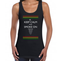 Keep Calm and Smoke On Cannabis Women's Vest Tank Top