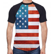 American Stars and Stripes Men's All Over Graphic Contrast Baseball T Shirt