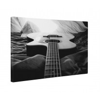 Acoustic Guitar Black and White Box Canvas Print Wall Art - Choice of Sizes