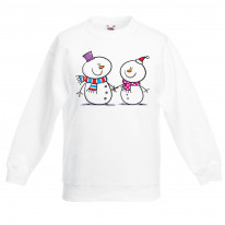 Snowman and Snow Woman Christmas Kids Jumper \ Sweater