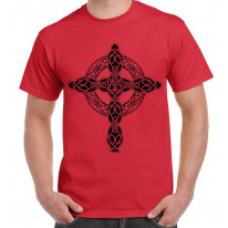Celtic Cross Tattoo Style Hipster Large Print Men's T-Shirt