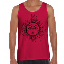 Boho Sun Hipster Tattoo Large Print Men's Vest Tank Top