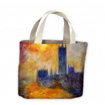 Claude Monet Houses of Parliament Tote Shopping Bag For Life