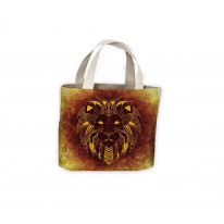 Tribal Lion Face Orange Tote Shopping Bag For Life