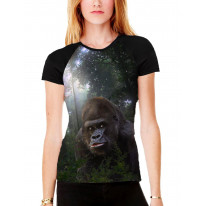Gorilla in Forest Women's All Over Graphic Contrast Baseball T Shirt