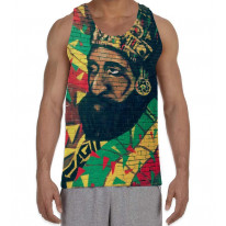 Haile Selassie Rasta Wall Art Men's All Over Graphic Vest Tank Top