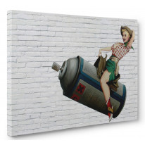 Banksy Cowgirl Box Canvas Print Wall Art - Choice of Sizes