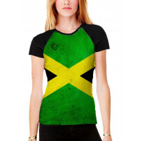 Jamaican Flag Women's All Over Graphic Contrast Baseball T Shirt