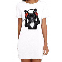 French Bulldog DJ Funny Women's T-Shirt Dress