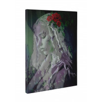 Girl with Red Roses in Hair Box Canvas Print Wall Art - Choice of Sizes