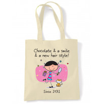 Chocolate and a Smile and a New Hairstyle 85th Birthday Tote Shoulder Shopping Bag