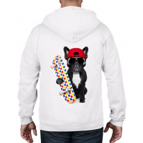 French Bulldog Skateboarder Funny Unisex Full Zip Up Hoodie