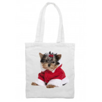 Yorkshire Terrier Puppy Santa Claus Father Christmas Shoulder Shopping Bag
