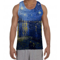 Van Gogh Starry Night Over the River Rhone Men's All Over Graphic Vest Tank Top