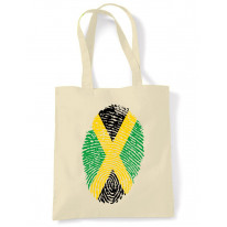 Jamaican Flag Finger Print Tote Shoulder Shopping Bag