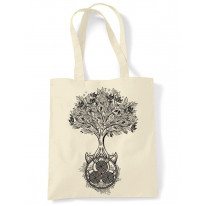 Celtic Spiral Tree of Life Large Print Tote Shoulder Shopping Bag